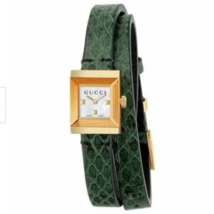 Gucci G-Frame Leather Wrap Strap Watch Green